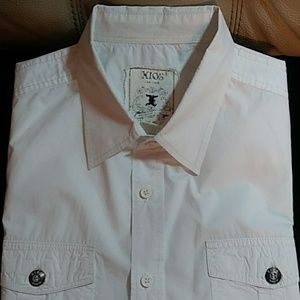 XIOS NEW YORK Men's Embridered White L/S Shirt